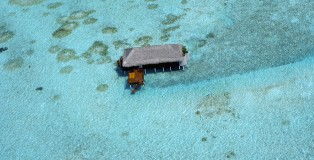 Honeymoon water Villa birds eye view