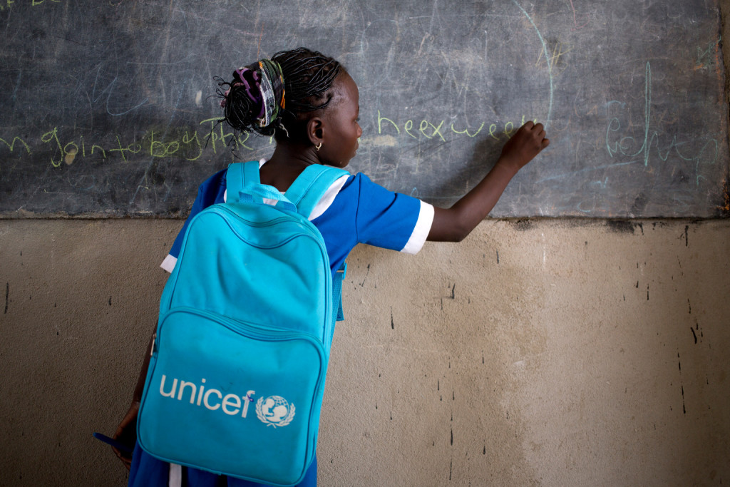 Eleven year old Nigerian refugee, Talatu John attend school at a UNICEF sponsored school ,at the Minawao refugee camp in Northern Cameroon, Tuesday 5 April 2016.Talatu fled to Cameroon with her mother after her aunt and uncle were killed by Boko Haram. The conflict in North-East Nigeria prompted by Boko Haram has led to widespread displacement, violations of international humanitarian and human rights law, protection risks and a severe humanitarian crisis. This is one of the fastest growing displacement crisis in Africa – one of the world's most forgotten emergencies, with little attention from the donor community. Across Nigeria, Niger, Cameroon and Chad, over 2.7 million people – mostly women and children – have now fled the Boko Haram-related violence. Many children have been subject to grave violations including forced recruitment, and being used as suicide bombers. Women and girls have been trafficked, raped, abducted and forcibly married. Schools have been attacked, looted, damaged or used as shelter by displaced families. The conflict is exacting a heavy toll on children, affecting not just their well-being and their safety but also their access to basic health, education, nutrition and social services.